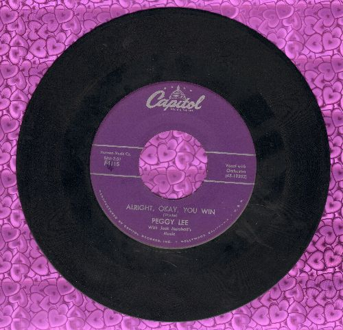 Lee, Peggy - Alright, Okay, You Win/My Man (purple label early issue) - NM9/ - 45 rpm Records