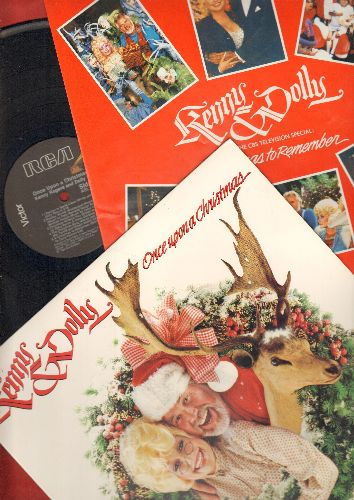 Rogers, Kenny & Dolly Parton - Once Upon A Christmas: Winter Wonderland/Sleigh Ride, The Christmas Song, White Christmas, Silent Night (vinyl STEREO LP record) - NM9/NM9 - LP Records
