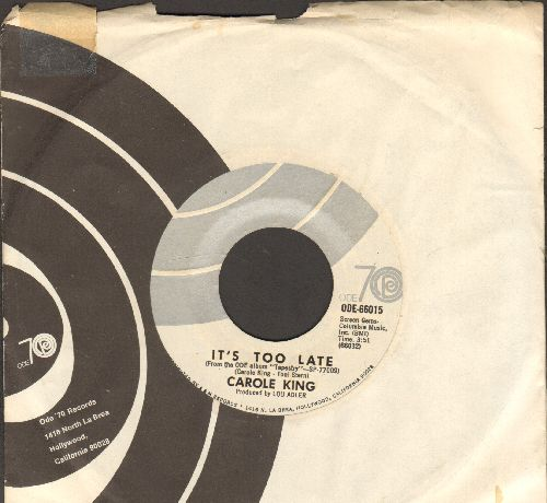 King, Carole - It's Too Late/I Feel The Earth Move (with company sleeve) - NM9/ - 45 rpm Records