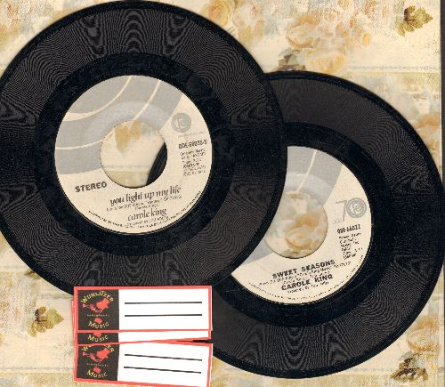 King, Carole - 2 For 1 Special: Sweet Seasons/You Light Up My Life. First pressing 45s shipped in white paper sleeves with 3 blank juke box labels. - EX8/ - 45 rpm Records