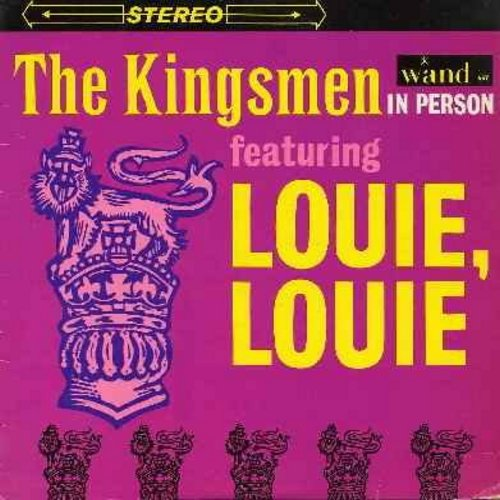 "Kingsmen - In Person Featuring ""Louie Louie"":  Fever, You Can't Sit Down,  Twist & Shout, Money, Mashed Potatoes (vinyl STEREO LP record) - EX8/EX8 - LP Records"