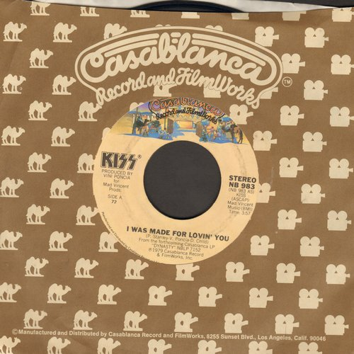 KISS - I Was Made For Lovin' You/Hard Times (with Casablanca company sleeve)(sol) - EX8/ - 45 rpm Records