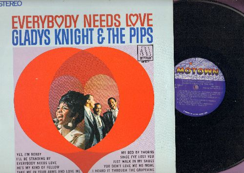 Knight, Gladys & The Pips - Everybody Needs Love: I Heard It Through The Grapevine, Yes I'm Ready, Take Me In Your Arms And Love Me, Since I've Lost You (vinyl STEREO LP record, 1980s pressing) - NM9/NM9 - LP Records