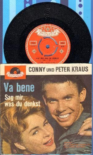 Conny und Peter Kraus - Sag mir, was du denkst/Va bene (Dutch Pressing with picture sleeve, NICE condition!) - NM9/EX8 - 45 rpm Records