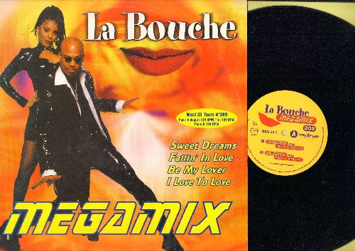 La Bouche - Megamix: Sweet Dreams/Fallin' In Love/Be My Lover/I Love To Love (3 different Dance Club Mixes on 12 inch vinyl Maxi Single, French Pressing with picture cover) - NM9/EX8 - Maxi Singles
