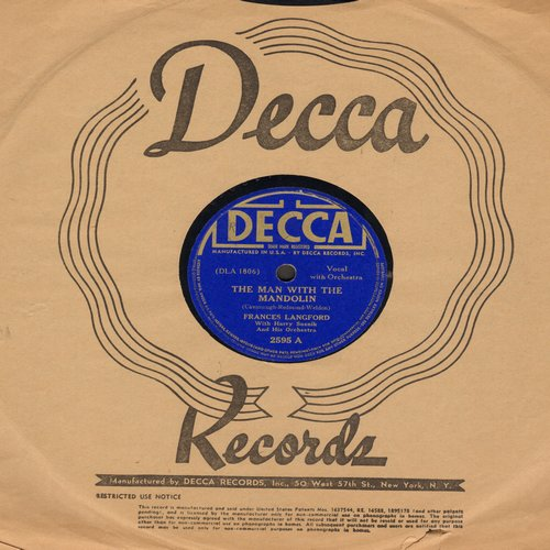 Langford, Frances - The Man With The Mandolin/Echoes Of Hawaii (10 inch 78 rpm record with Decca company sleeve) - VG6/ - 78 rpm