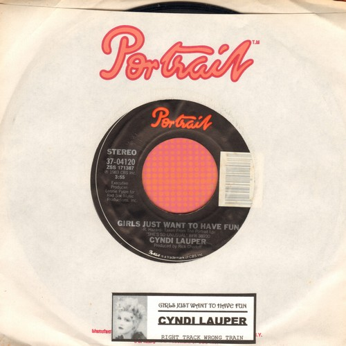 Lauper, Cyndi - Girls Just Want To Have Fun/Right Track Wrong Train (with Portrait company sleeve) - NM9/ - 45 rpm Records