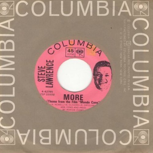 Lawrence, Steve - More/Poor Little Rich Girl (with Columbia company sleeve) - EX8/ - 45 rpm Records