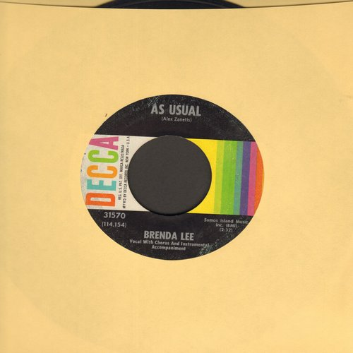Lee, Brenda - As Usual/Lonely Lonely Lonely Me - EX8/ - 45 rpm Records