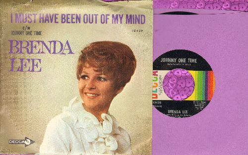 Lee, Brenda - Johnny One Time/I Must Have Been Out Of My Mind (with picture sleeve) - NM9/EX8 - 45 rpm Records