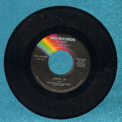 Lee, Brenda - I'm Sorry/All Alone Am I (re-issue with juke box label) - NM9/ - 45 rpm Records