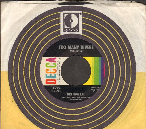 Lee, Brenda - Too Many Rivers/No One (with Decca company sleeve) - NM9/ - 45 rpm Records