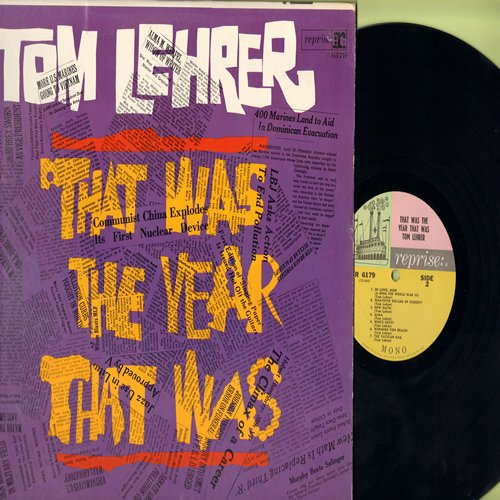 Lehrer, Tom - That Was The Year That Was: New Math, Wernher Von Braun, The Vatican Rag, Smut, Send The Marines (vinyl MONO LP record) - EX8/VG7 - LP Records