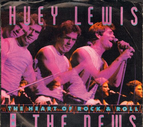 Lewis, Huey & The News - The Heart Of Rock & Roll/Workin' For A Livin' (LIVE)  (with picture sleeve) - M10/EX8 - 45 rpm Records