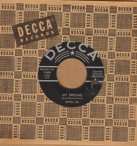 Lee, Brenda - My Dreams/Alone With You (RARE black label w/star early pressing with vintage Decca company sleeve) - EX8/ - 45 rpm Records