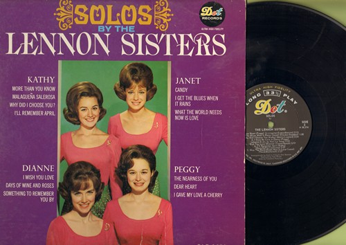 Lennon Sisters - Solos: I'll Remember April, What The World Needs Now Is Love, Days Of Wine And Roses, Dear Heart (vinyl MONO LP record) - VG7/VG7 - LP Records