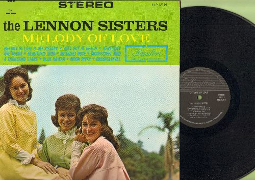 Lennon Sisters - Melody Of Love: Just Out Of Reach, Ave Maria, Beautiful Ohio, Mississippi Mud, Greensleeves, Moon River, Blue Hawaii (vinyl STEREO LP record) - NM9/EX8 - LP Records
