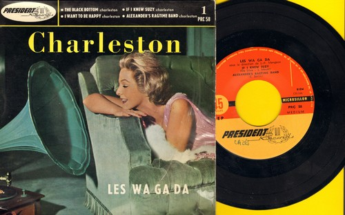 Les Wa Ga Da - Charleston: Black Bottom/If I Knew Suzy/I Want To Be Happy/Alexander's Ragtime Band (vinyl EP record with picture cover, French Pressing) - NM9/EX8 - 45 rpm Records
