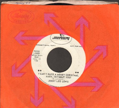 Lewis, Jerry Lee - I Can't Have A Merry Christmas, Mary (With0ut You)/In Loving Memories (DJ advance pressing with Mercury company sleeve) - NM9/ - 45 rpm Records