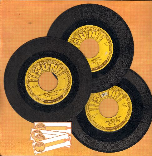 Lewis, Jerry Lee - Vintage Sun Label Jerry Lee Lewis 3-Pack: Hits include Whole Lot Of Shakin' Going On, Great Balls Of Fire and Breathless (Shipped in plain paper slees with 4 blank juke box labels) - VG6/ - 45 rpm Records