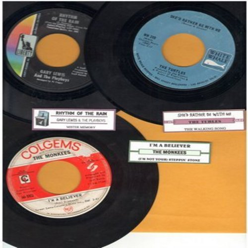 Turtles, Monkees, Gary Lewis & The Playboys - Juke Box Trio #1203: First issues in very good or better condition, includes hits She'd Rather Be With Me, I'm A Believer and Rhythm Of The Rain. With customized juke box labels, great set for a Juke Box! - VG