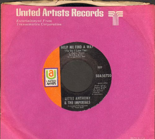 Little Anthony & The Imperials - Help Me Find A Way/If I Love You (with United Artists company sleeve) - NM9/ - 45 rpm Records
