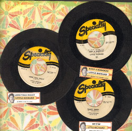 Little Richard - 3-Pack of first issue 45s with juke box labels. Hits include Keep A Knockin'/Long Tall Sally/Rip It Up. Shipped in plain white paper sleeves. GREAT for a juke box! - VG6/ - 45 rpm Records