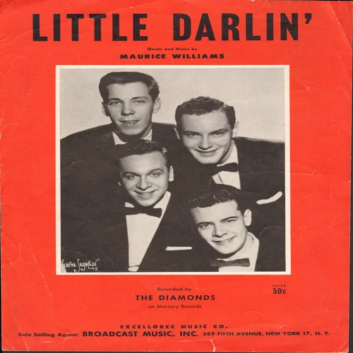 Diamonds - Little Darlin' - Vintage Sheet Music for the song made popular by The Diamonds.  (This is SHEET MUSIC, not any other kind of media!) - EX8/ - Sheet Music
