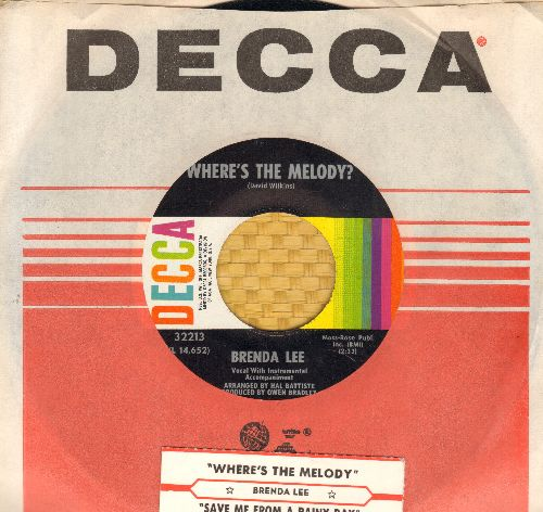 Lee, Brenda - Where's The Melody?/Save Me For A Rainy Day (MINT condition with Decca company sleeve and juke box label) - M10/ - 45 rpm Records