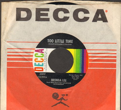 Lee, Brenda - Too Little Time/Time And Time Again (with vintage Decca company sleeve) - NM9/ - 45 rpm Records