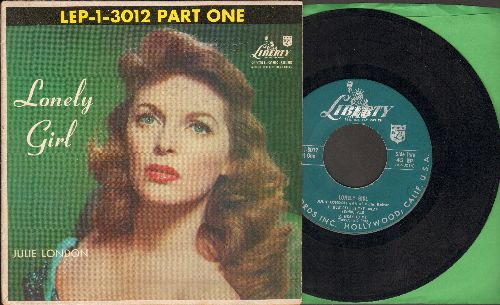 London, Julie - Lonely Girl/Fools Rush In/How Deep Is The Ocean/Mean To Me (vinyl EP record, green label early pressing with picture cover) - VG7/EX8 - LP Records