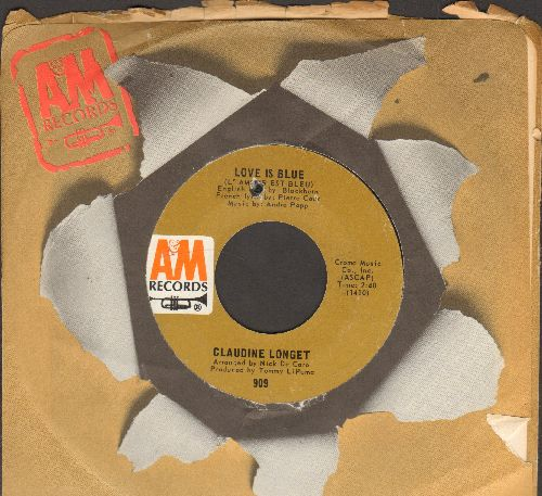Longet, Claudine - Love Is Blue/Think Of Rain (with A&M company sleeve) (bb) - EX8/ - 45 rpm Records