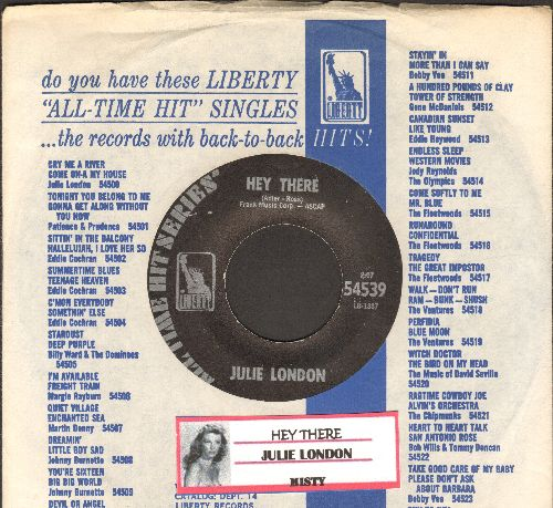 London, Julie - Hey There/Misty (early double-hit re-issue with Liberty company sleeve and juke box label) - NM9/ - 45 rpm Records