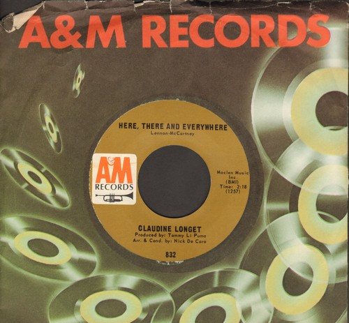 Longet, Claudine - Here, There And Everywhere/A Man And A Woman (with A&M company sleeve) - EX8/ - 45 rpm Records