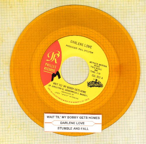 Love, Darlene - Wait Til' My Bobby Gets Home/Stumble And Fall (authentic-looking double-hit YELLOW VINYL re-issue with juke box label) - NM9/ - 45 rpm Records
