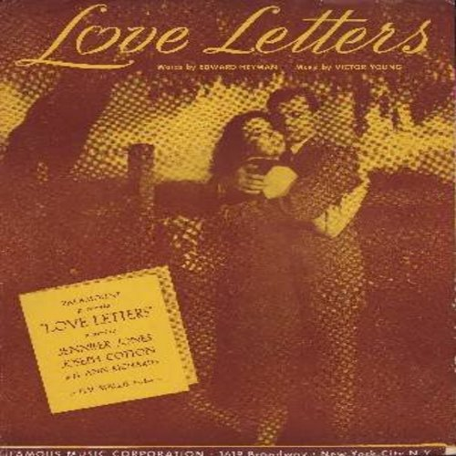Young, Victor, Edward Heyman - Love Letters - SHEET MUSIC for the song featured in film by same name starring Jennifer Jones and Joseph Cotton - BEAUTIFUL cover art! (THIS IS SHEET MUSIC, NOT ANY OTHER KIND OF MEDIA! Shipping rate same as 45rpm record) -