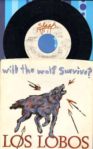 Los Lobos - Will The Wold Survive?/The Breakdown (with picture sleeve, song lyrics of the hit on back of sleeve) - NM9/EX8 - 45 rpm Records