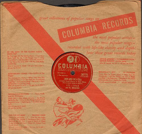 Lyman, Abe & His Orchestra - Rum And Coca-Cola (Vocal by Rose Blane)/Since You (10 inch 78 rpm record with Columbia company sleeve) - VG7/ - 78 rpm