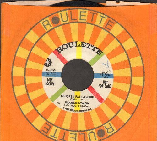 Lymon, Frankie - Before I Fall Asleep/What A Little Moonlight Can Do (with Roulette company sleeve) - VG7/ - 45 rpm Records