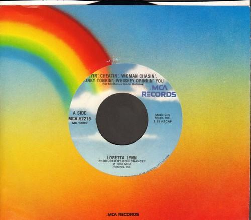 Lynn, Loretta - Lyin', Cheatin', Woman Chasin', Honky Tonkin', Whiskey Drinkin' You/Starlight, Starbright - EX8/ - 45 rpm Records