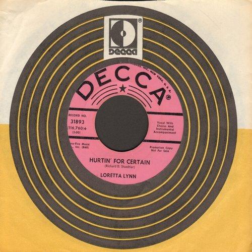 Lynn, Loretta - Hurtin' For Certain/Dear Uncle Sam (DJ advance pressing with Decca company sleeve, heavy wol) - EX8/ - 45 rpm Records
