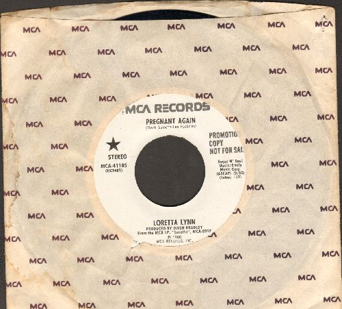 Lynn, Loretta - Pregnant Again (double-A-sided DJ advance pressing with MCA company sleeve) - EX8/ - 45 rpm Records
