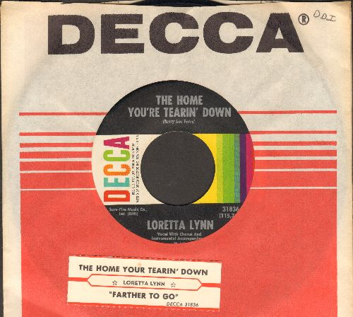 Lynn, Loretta - The Home You're Tearin' Down/Farther To Go (with Decca company sleeve) - NM9/ - 45 rpm Records