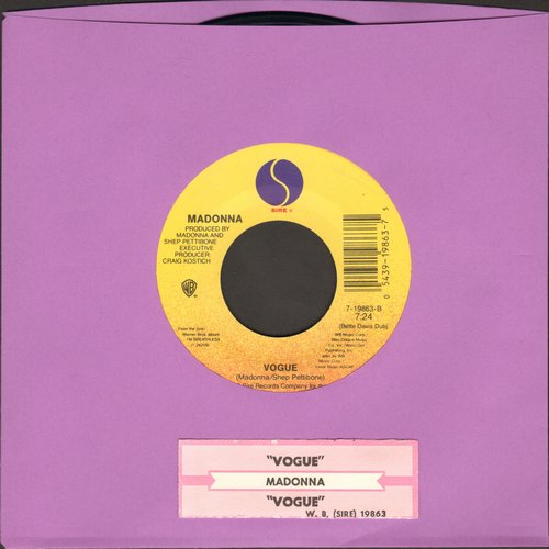Madonna - Vogue (7:24 Extended Dance Club Mix)/Vogue (4:19 Radio Mix) (with juke box label) - EX8 / - 45 rpm Records
