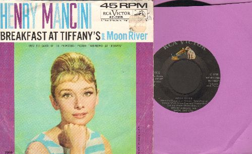 Mancini, Henry & His Orchestra - Moon River/Breakfast At Tiffany's (with picture sleeve, BEAUTIFUL portrait of star Audrey Hepburn!) - EX8/VG7 - 45 rpm Records