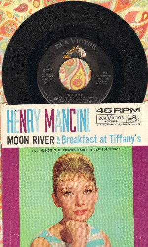 Mancini, Henry & His Orchestra - Moon River/Breakfast At Tiffany's (with juke box label) - EX8/EX8 - 45 rpm Records