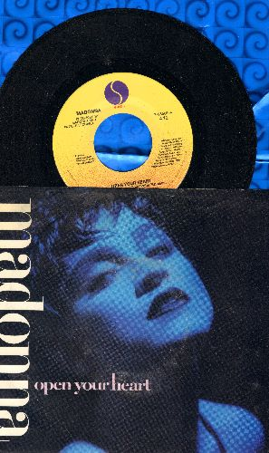 Madonna - Open Your Heart/White Heat (with picture sleeve, song lyrics on back of picture sleeve) - NM9/VG7 - 45 rpm Records
