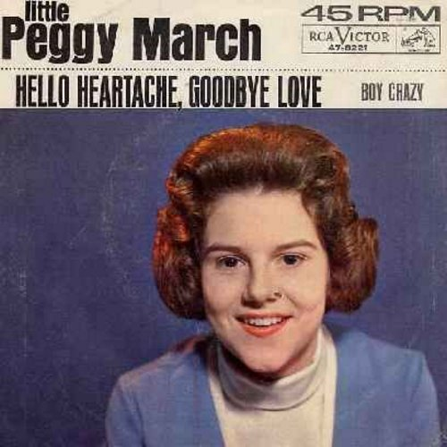 March, Little Peggy - Hello Heartache, Goodbye Love/Boy Crazy (with picture sleeve) - EX8/VG7 - 45 rpm Records