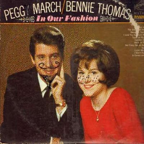 March, Little Peggy & Bennie Thomas - In Our Fashion: Blue On Blue, Tears On My Pillow, Suddenly, The Birds And The Bees (vinyl STEREO LP record, cover has childish marker spots, moustache and freckles drawn on artists) - EX8/VG6 - LP Records