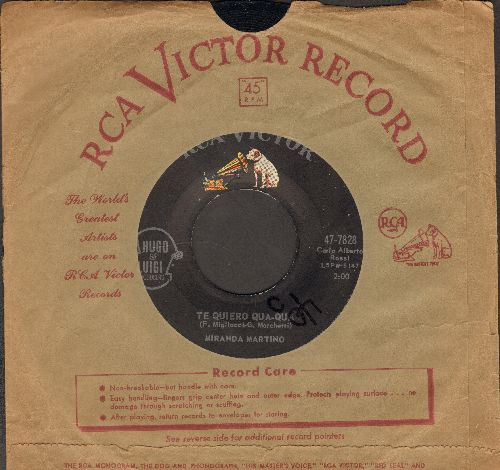 Martino, Miranda - Te Quiero Qua-Qua/Just Say I Love Him (FANTASTIC Italian Vintage Rock & Roll Novelty Record!) (with RCA company sleeve) - EX8/ - 45 rpm Records